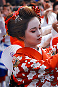 Japanese Woman Dressed As a Maiko (Apprentice Geisha) and Wearing the Traditional Makeup (Doran) During the Feudal Festival of the Lords, the Daimyo Gyoretsu, When the Japanese Dress Up in Period Costumes, Japan, Asia