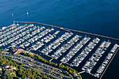 Aerial View of Yachts in a Marina, Seattle, WA, US