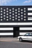 Building with an American Flag Paint Job, Waitsburg, WA, USA