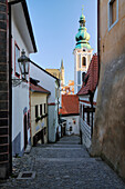 Alleyway through an Old City, Cesky Krumlov, Bohemia, Czech Republic