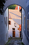 Alleyway through City, Cesky Krumlov, Bohemia, Czech Republic