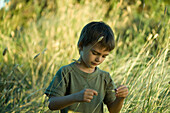 Little boy in tall grass, looking down at blade of grass in hands
