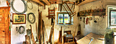 Interior of rustic tool shed