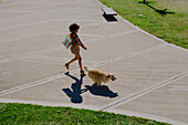 Woman walking dog in park, high angle view