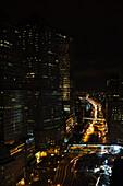 Traffic traveling on freeway at night