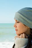 Teen girl at the beach, profile, portrait
