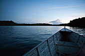 South America, Amazon, boat traveling down river, personal perspective