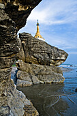 Pagoda on top of rock at Ngwe Saung Beach, Myanmar