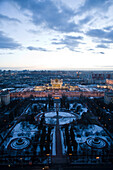 Russia, Moscow, campus of Lomonosov Moscow State University, high angle view