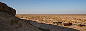 Uzbekistan, Moynaq, rusty boats beached in the desert which used to be the Aral Sea
