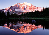 Snow-Covered Mountain and Reflection in Tranquil Lake, Washington, USA