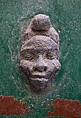 Carved Male Head in Wall, Close-Up, France