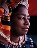 Woman Wearing African Head Scarf