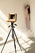 Large Format Camera Pointed at Nude Obscured by Sheer Gauze