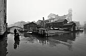 Fog, gondola, gondola dockyard of San Trovaso, Venice, Italy