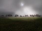 Foggy scenery, Rimsting, Chiemgau, Bavaria, Germany