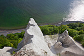 High angle view of chalk cliffs, Ruegen island, Jasmund National Park, Baltic Sea, Mecklenburg-West Pomerania, Germany, Europe
