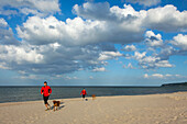 Man and woman jogging with dogs on the beach, Baabe seaside resort, Ruegen island, Baltic Sea, Mecklenburg-West Pomerania, Germany