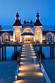 Illuminated pier in the evening, Sellin seaside resort, Ruegen island, Baltic Sea, Mecklenburg-West Pomerania, Germany, Europe