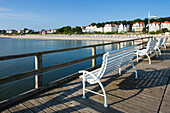 Benches on the pier, Bansin seaside resort, Usedom island, Baltic Sea, Mecklenburg-West Pomerania, Germany, Europe