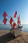 Fishing boat on the beach, Bansin seaside resort, Usedom island, Baltic Sea, Mecklenburg-West Pomerania, Germany