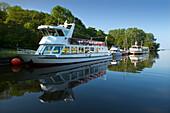 Excursion boats at Achterwasser near Ueckeritz, Usedom island, Baltic Sea, Mecklenburg-West Pomerania, Germany