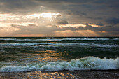 Thunderclouds at Darss west beach, Fischland-Darss-Zingst, Baltic Sea, Mecklenburg-West Pomerania, Germany