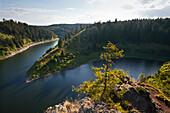 Rappbode reservoir, view over the upstream dam, near Hasselfelde, Harz mountains, Saxony-Anhalt, Germany