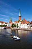 View over the Trave river to the old town of Luebeck, with St Mary´s church and church of St Petri, Hanseatic city of Luebeck, Baltic Sea, Schleswig-Holstein, Germany