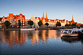 Houses with stepped gables at Holsten harbour, St Mary´s church and church of St Petri, Hanseatic city of Luebeck, Baltic Sea, Schleswig-Holstein, Germany