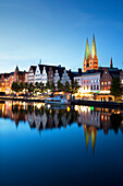 View over river Trave to old town with St. Mary' s church, Hanseatic City of Luebeck, Schleswig Holstein, Germany