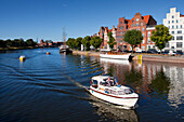 Houses with stepped gables at Holsten harbour, Hanseatic city of Luebeck, Baltic Sea, Schleswig-Holstein, German