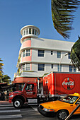 US, Florida, Miami Beach, Ocean drive, Art Deco facades, Coca Cola truck