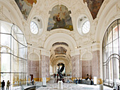 France, Paris, 8th arrondissement, Petit Palais, fresco in hall, statues