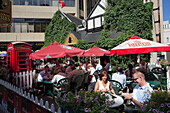 Canada, Alberta, Edmonton, downtown, street scene, restaurant, people