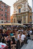 France, Provence, Côte d'Azur, Nice, Ste Réparate cathedral, street cafe, people
