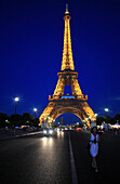 France, Paris, Eiffel tower with EU stars (french EU presidency from june to december 2008)