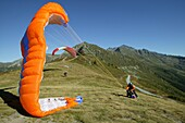 Switzerland, Valais, Verbier, Gliders taking off
