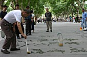 Chine, Shanghai, Water calligraphy in Shanghai