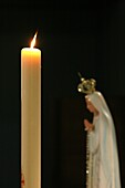 France, Le Fayet, Candle and virgin