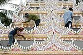 Malaysia, Penang, Penang, Dharmikarama Burmese temple restoration. Penang