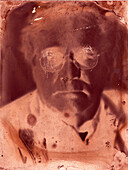 Man Wearing Eyeglasses Portrait, Abstract Emulsion
