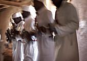 Blurred Five Gnawa Musicians, Khemlia, Morocco