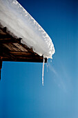 Melting Icicle and Snow on Roof, Halsingland, Sweden