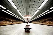 Empty Subway Platform, Prague, Czech Republic