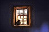 Adorned window in the Kasbah Asslim in Agdz, Draa South of the High Atlas, Morocco, Africa