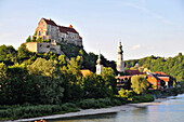 View of castle and old town of Burghausen and Salzach river, Bavaria, Germany, Europe