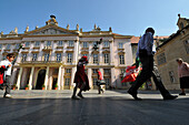 People in front of Primate's Palace at the old town of Bratislava, Slovakia, Europe