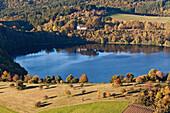 Aerial view of Weinfelder Maar, Weinfeld chapel at Toten Maar, rural district of Daun, Rhineland Palatinate, Germany, Europe