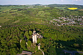 Aerial photo of castle Kasselburg, Gerolstein, Eifel, Rhineland Palatinate, Germany, Europe